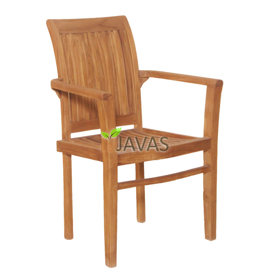 Teak Outdoor Bronte Stacking Arm Chair