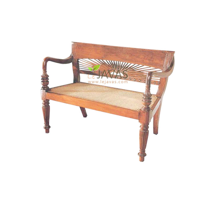 Bali Teak Indoor Matahari Bench With Rattan
