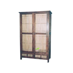 Indonesia Teak Indoor Bamboo Armoire Wholesale