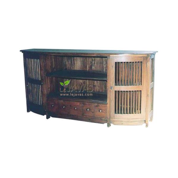 Teak Indoor Slat TV Cabinet
