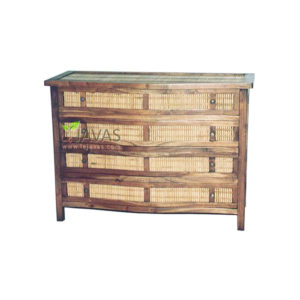 Teak Indoor 4 Drawer Bamboo Dresser MBS 004